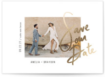 This is a white foil stamped save the date card by Summer Winkelman called Amelia with foil-pressed printing on smooth signature in standard.