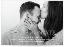 This is a grey foil stamped save the date card by Lauren Chism called Darling + Dapper with foil-pressed printing on smooth signature in standard.