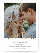 This is a grey foil stamped save the date card by Erica Krystek called Paperback with foil-pressed printing on smooth signature in standard.