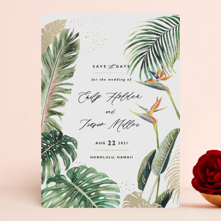 """""""Our Paradise"""" - Foil-pressed Save The Date Cards in Fern by Elly."""