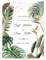 This is a green foil stamped save the date card by Elly called Our Paradise with foil-pressed printing on signature in standard.