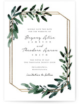 This is a white foil stamped save the date card by Lissabeth Anglin called Gilded Eucalyptus with foil-pressed printing on signature in standard.