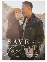 This is a white foil stamped save the date card by Ashley Rosenbaum called Composition with foil-pressed printing on smooth signature in standard.