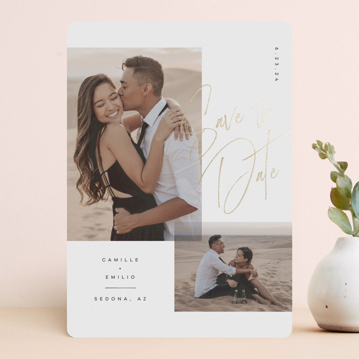 """""""Flirt"""" - Foil-pressed Save The Date Cards in Ink by Kristie Kern."""
