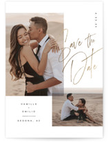 This is a black foil stamped save the date card by Kristie Kern called Flirt with foil-pressed printing on smooth signature in standard.