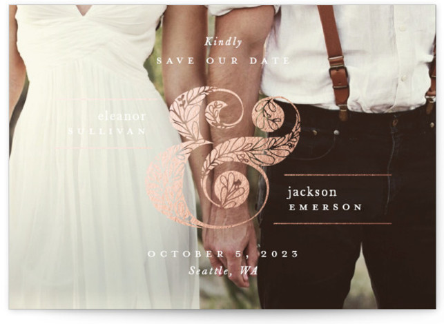 Gilded Ampersand Foil-Pressed Save The Date Cards