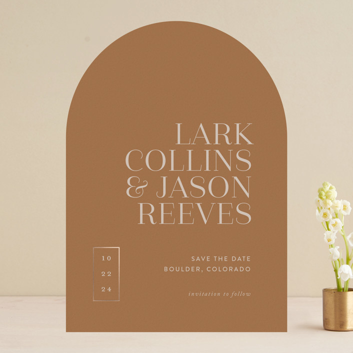 """""""Bold Move"""" - Modern Foil-pressed Save The Date Cards in Copper by That Girl Press."""