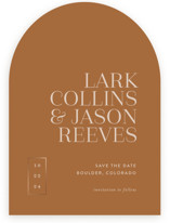 This is a brown foil stamped save the date card by That Girl Press called Bold Move with foil-pressed printing on signature in standard.