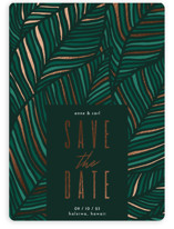 This is a green foil stamped save the date card by Iveta Angelova called Tropical Bliss with foil-pressed printing on signature in standard.