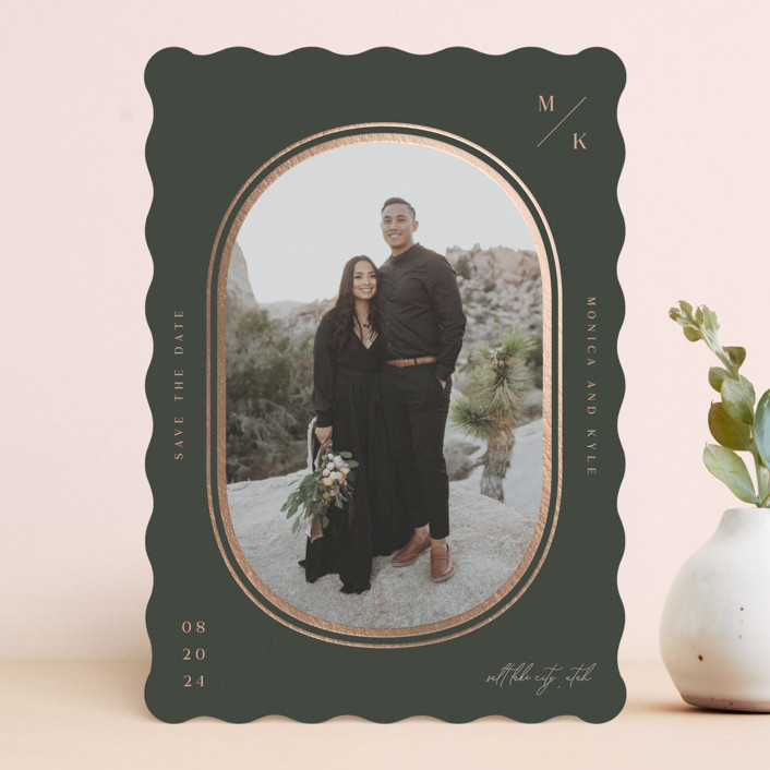 """""""capsule"""" - Modern Foil-pressed Save The Date Cards in Olive by Robin Ott."""
