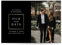 This is a black and white foil stamped save the date card by Remioni called Сlassic with foil-pressed printing on smooth signature in standard.
