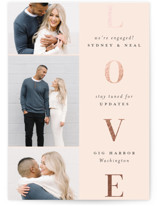 This is a pink foil stamped save the date card by Stacey Meacham called Lovely stack with foil-pressed printing on smooth signature in standard.