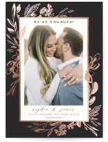 This is a black foil stamped save the date card by Susan Moyal called Our Day with foil-pressed printing on smooth signature in standard.