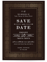 This is a brown foil stamped save the date card by Felix Grapes called Geo Deco with foil-pressed printing on signature in standard.