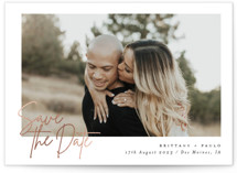 This is a white foil stamped save the date card by Bonjour Berry called Postcards with foil-pressed printing on signature in standard.