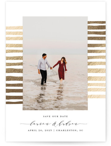 shorelines Foil-Pressed Save The Date Cards