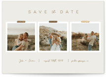 This is a beige foil stamped save the date card by Jayda Corwin called Polaroid Collage with foil-pressed printing on smooth signature in standard.