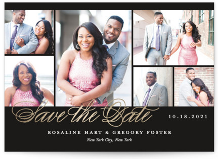 Photo Block Foil-Pressed Save the Date Cards