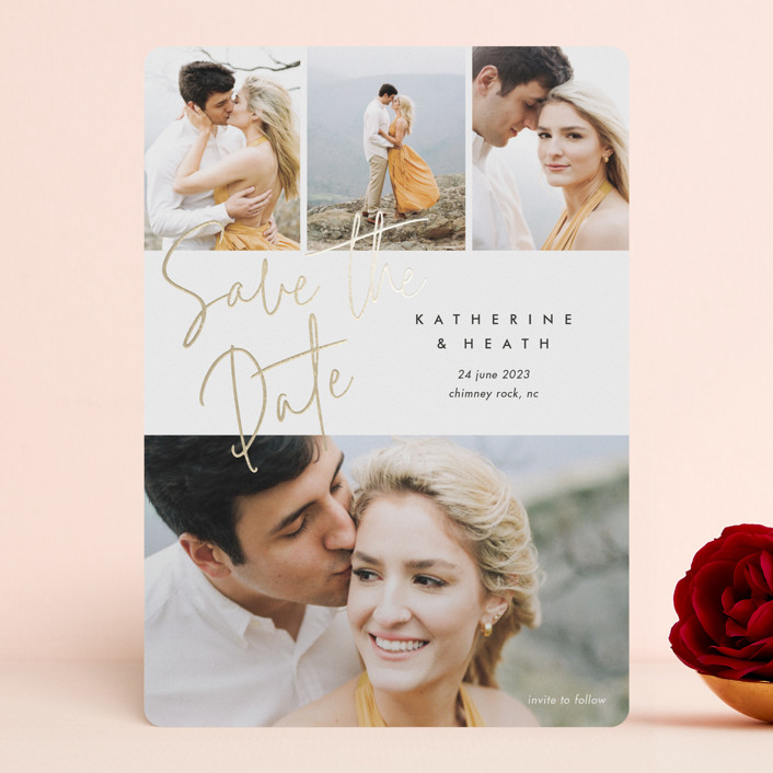 """""""Can't Wait"""" - Foil-pressed Save The Date Cards in Cotton by Stacey Meacham."""