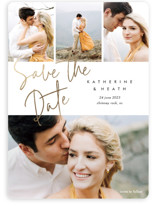This is a white foil stamped save the date card by Stacey Meacham called Can't Wait with foil-pressed printing on smooth signature in standard.