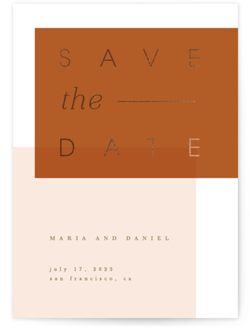 Block date Foil-Pressed Save The Date Cards