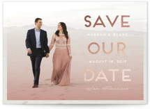 Ombre Shimmer Foil Pressed Save The Date Cards