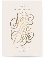 This is a beige foil stamped save the date card by Erin L. Wilson called Gilded with foil-pressed printing on signature in standard.