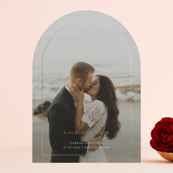 """""""Through"""" - Modern Foil-pressed Save The Date Cards in Cotton by Blustery August."""