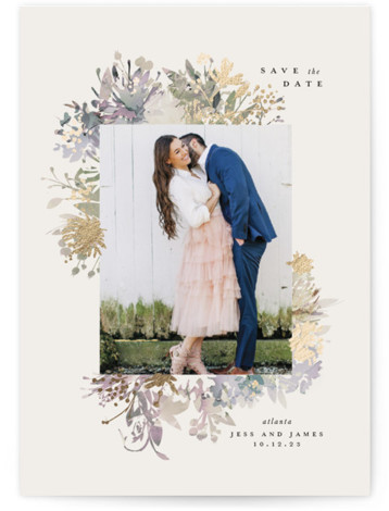 Floral Bouquet Foil-Pressed Save The Date Cards