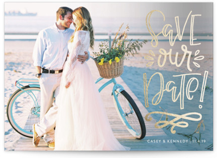 Stacked Save our Date Foil-Pressed Save the Date Cards