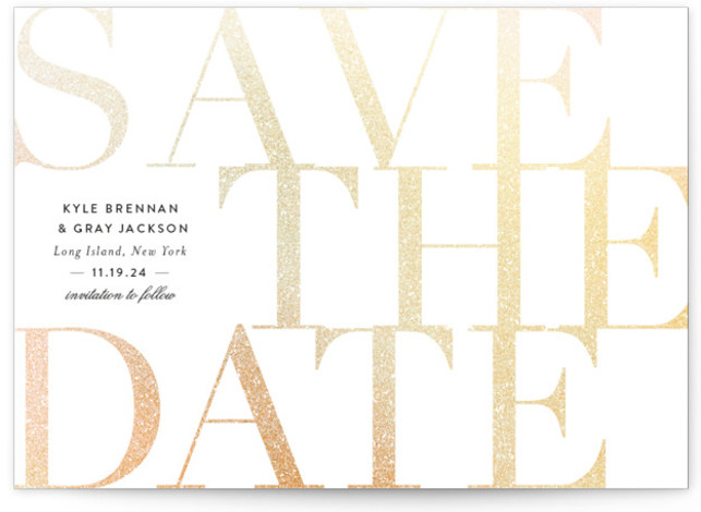 This is a landscape bold and typographic, white Save the Dates by Sara Hicks Malone called the big classic with Foil Pressed printing on Signature in Classic Flat Card format. Elegant + simple
