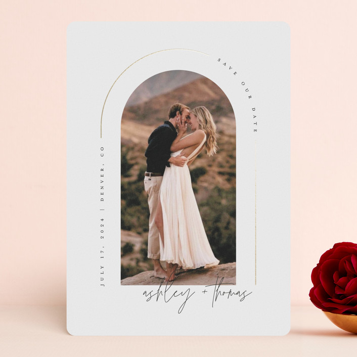"""""""Arch"""" - Modern Foil-pressed Save The Date Cards in Silk by Kelly Schmidt."""