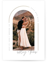 This is a white foil stamped save the date card by Kelly Schmidt called Arch with foil-pressed printing on smooth signature in standard.
