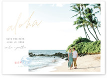 This is a pink foil stamped save the date card by Krissy Bengtson called Aloha with foil-pressed printing on smooth signature in standard.