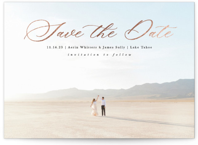 beautifully minimal Foil-Pressed Save The Date Cards