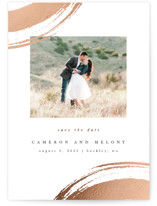 This is a white foil stamped save the date card by Angela Garrick called brushed romance with foil-pressed printing on smooth signature in standard.