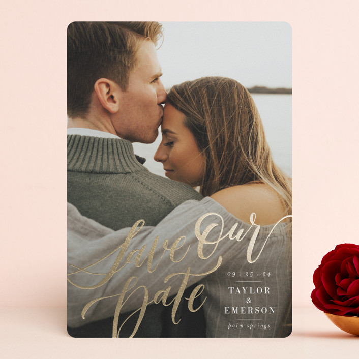 """""""My Forever Love"""" - Foil-pressed Save The Date Cards in Cloud by Wildfield Paper Co."""