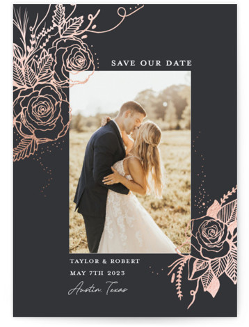 Forever Roses Foil-Pressed Save The Date Cards