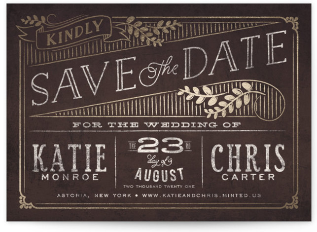 This is a landscape rustic, brown, gold Save the Dates by GeekInk Design called Slated Forever with Foil Pressed printing on Signature in Classic Flat Card format. A rustic and vintage chalkboard wedding invite.