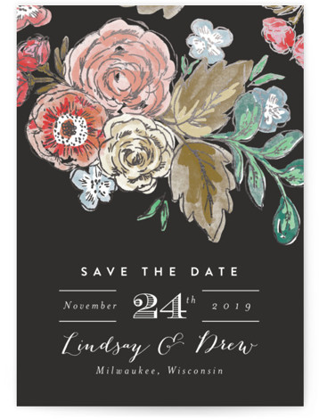This is a portrait botanical, black, silver Save the Dates by Alethea and Ruth called Dramatic Floral Date with Foil Pressed printing on Signature in Classic Flat Card format. Dramatic hand drawn florals are the focus of this save the ...