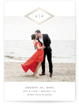 This is a white foil stamped save the date card by Stacey Meacham called Looking Sharp with foil-pressed printing on smooth signature in standard.
