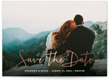 This is a white foil stamped save the date card by Hooray Creative called Stylish Script with foil-pressed printing on smooth signature in standard.