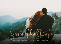 Stylish Script Foil-Pressed Save the Date Cards By Hooray Creative