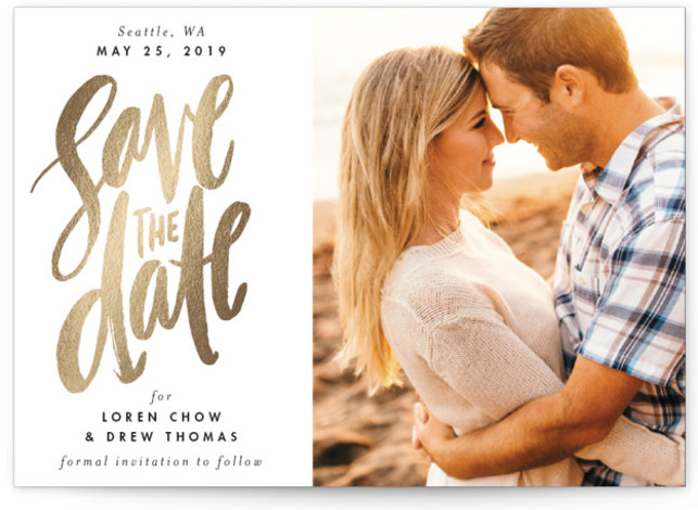 This is a landscape bohemian, gold, beige Save the Dates by Alethea and Ruth called Watercolor Lettering with Foil Pressed printing on Smooth Signature in Classic Flat Card format. This photo save the date features brush lettering and modern type. ...
