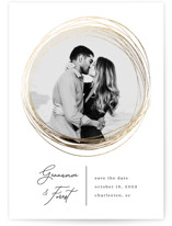 This is a white foil stamped save the date card by Kaydi Bishop called Bands of Eternity with foil-pressed printing on smooth signature in standard.