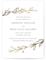 This is a white foil stamped save the date card by Mere Paper called Metallic Branches with foil-pressed printing on signature in standard.