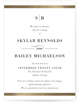 This is a white foil stamped save the date card by Stacey Meacham called Classic Monogram with foil-pressed printing on signature in standard.