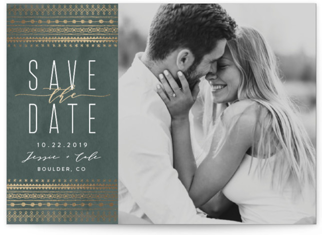boho glam Foil-Pressed Save The Date Cards