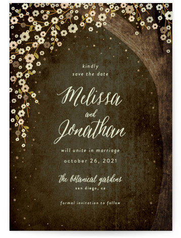 This is a portrait botanical, brown, gold Save the Dates by Rebecca Bowen called Outside with Foil Pressed printing on Signature in Classic Flat Card format. Rustic wedding under the stars