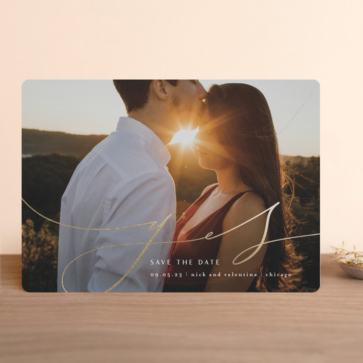 """""""she said it"""" - Foil-pressed Save The Date Cards in Snow by Anastasia Makarova."""